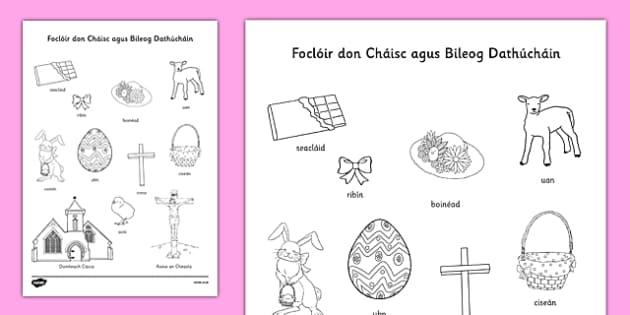Foclóir don Cháisc agus Bileog Dathúcháin Gaeilge - irish, gaeilge, easter, vocabulary, colouring, worksheet