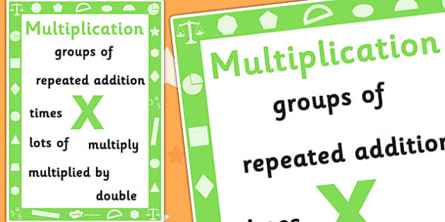 Key Stage 1 Multiplication Poster - Maths, Numbers, Poster, Multiply