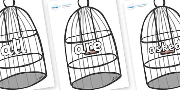 Tricky Words on Cages - Tricky words, DfES Letters and Sounds, Letters and sounds, display, words