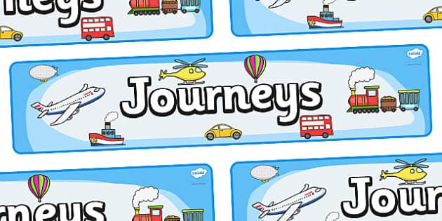 'Journeys' Display Banner - Display banner, journeys, journey, transport, car, van, lorry, bike, motorbike, plane, aeroplane, tractor, truck, bus