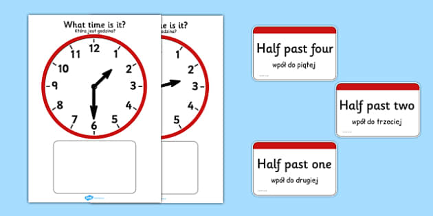 Analogue Clocks Matching Polish Translation - polish, Clock time matching game, Time, Time resource, Time vocabulary, clock face, O'clock, half past, quarter past, quarter to, shapes spaces measures, clock game, time game, foundation stage, KS1