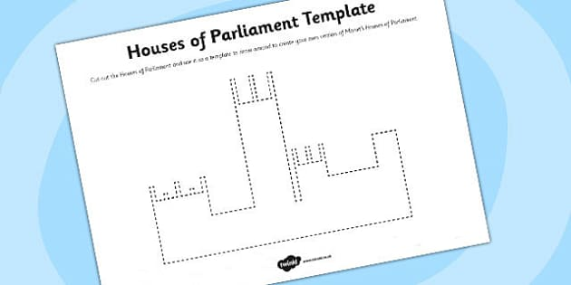 Houses of Parliament Template Activity Sheet - art, parliament, worksheet