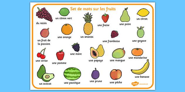 Set de mots sur les fruits French - french, fruit, word mat, word, mat, food
