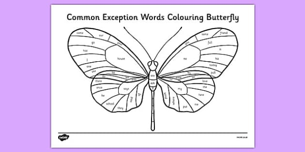 Year 1 Common Exception Words Colouring Butterfly - reward, award, spelling, reading, writing, literacy, English, SPaG, Letters and Sounds
