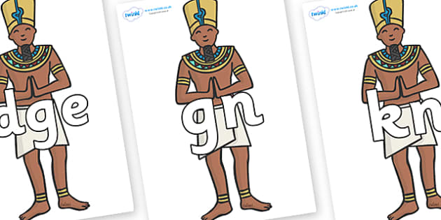 Silent Letters on Egyptian Priests - Silent Letters, silent letter, letter blend, consonant, consonants, digraph, trigraph, A-Z letters, literacy, alphabet, letters, alternative sounds