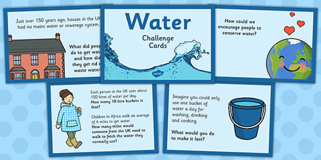 Water Challenge Cards - water, challenge cards, challenge, cards