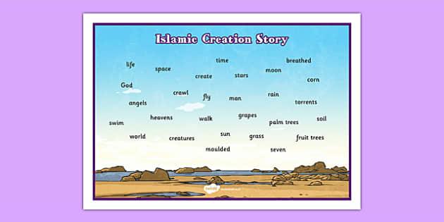 Islamic Creation Story Word Mat