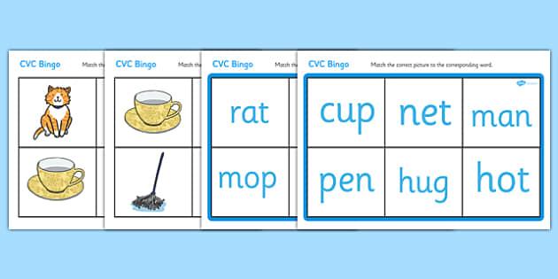 CVC Bingo Matching Card Game - bingo, game, activity, fun, CVC, CVC matching game, CVC game, phonics, phonics game, word game, literacy, english, bingo game, CVC bingo, learning, class activity, play, playing