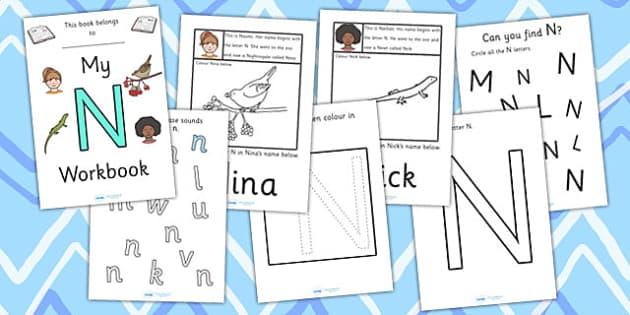 My Workbook N uppercase - workbook, N sound, uppercase, letters, alphabet, activity, handwriting, writing