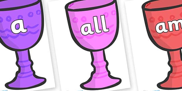 Foundation Stage 2 Keywords on Goblets - FS2, CLL, keywords, Communication language and literacy,  Display, Key words, high frequency words, foundation stage literacy, DfES Letters and Sounds, Letters and Sounds, spelling