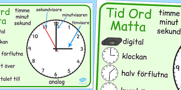 Swedish Time Word Mat - swedish, time, words, mat, word mat