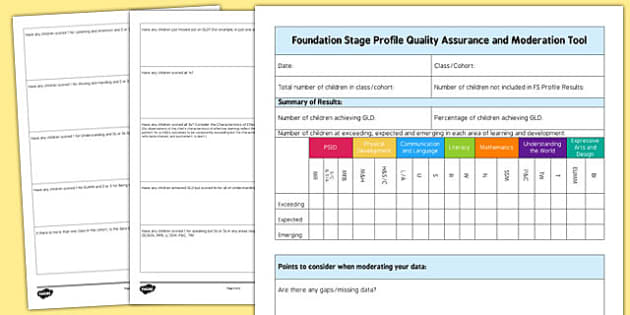 Foundation Stage Profile Quality Assurance and Moderation Tool - ELG sense check, moderation,