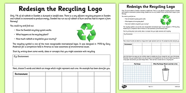 Redesign The Recycling Logo Activity Sheet - recycling, design, logo, activity, worksheet