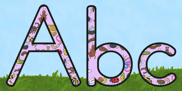 Minibeasts Cute Display Lettering - insects, animals, letters