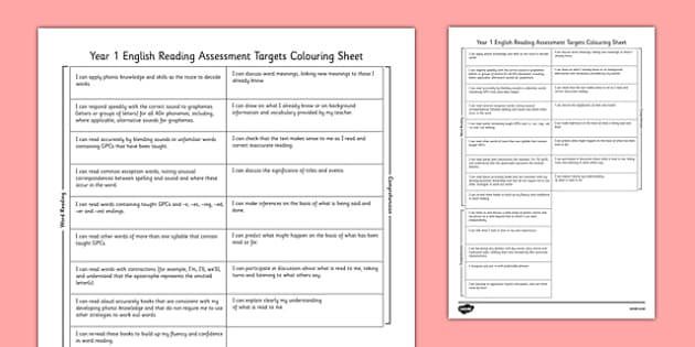 2014 Curriculum Year 1 English Reading Assessment Targets Colour