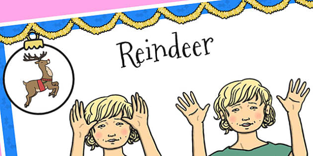 A4 British Sign Language Sign for Reindeer - sign language, sign