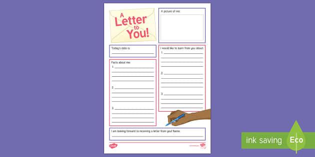 Intergenerational Pen Pal Club Writing Activity Sheet - Pen Pal Letter Writing, Frames, Templates, Ideas, Intergenerational, Elderly Care, Schools