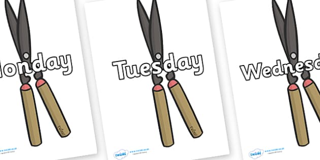 Days of the Week on Shears - Days of the Week, Weeks poster, week, display, poster, frieze, Days, Day, Monday, Tuesday, Wednesday, Thursday, Friday, Saturday, Sunday