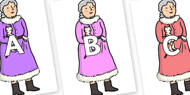 A-Z Alphabet on Mrs Clause to Support Teaching on The Jolly Christmas Postman - A-Z, A4, display, Alphabet frieze, Display letters, Letter posters, A-Z letters, Alphabet flashcards