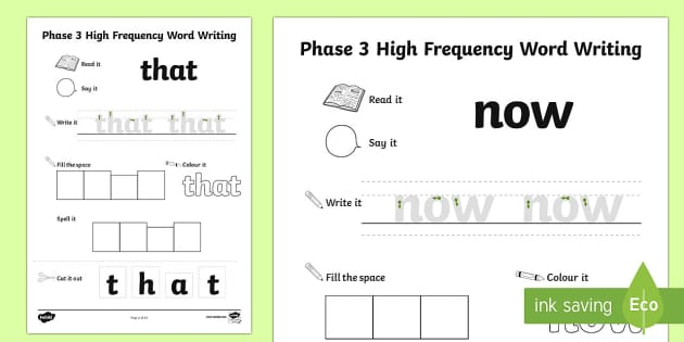 Phase 3 High Frequency Word Writing Activity Sheet - Phase 2 High ...