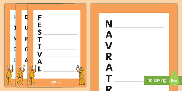 Navratri Acrostic Poem Activity Sheet Pack, worksheet