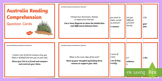 Australia Reading Comprehension Question Cards-Australia - Literacy, guided reading, comprehension, year 4, year 3, year 5, year 6, English, Australian curricu