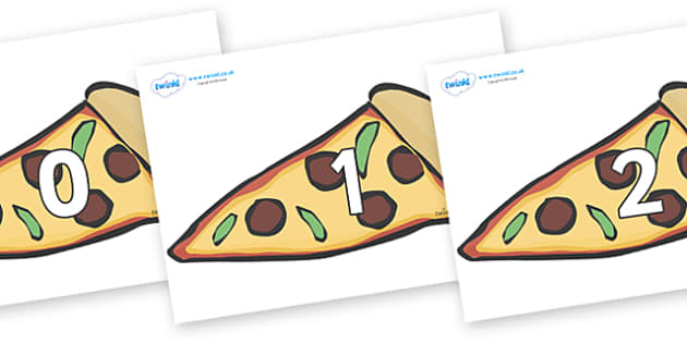 Numbers 0-31 on Pizza Slices - 0-31, foundation stage numeracy, Number recognition, Number flashcards, counting, number frieze, Display numbers, number posters
