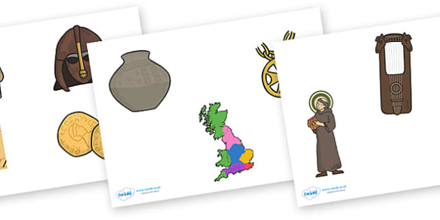 Anglo Saxons Cut Outs - Anglo Saxon, Saxons, Anglo-saxon, history, cut outs, cutting, out, cut, Northumbria, Kent, bronze helmet, East Anglia, Bayeux Tapestry, St. Bede, Offa's Duke, jewellery, Wessex, Sutton Hoo, Kent