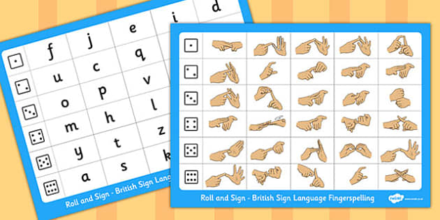 Roll and Sign British Sign Language Fingerspelling - roll, sign