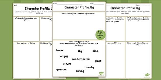 Character Profile Ug Worksheet to Support Teaching on Ug ug – Character Profile Worksheet