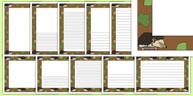 Hedgehog Themed Page Borders - hedgehog, page borders, writing frames, woodland