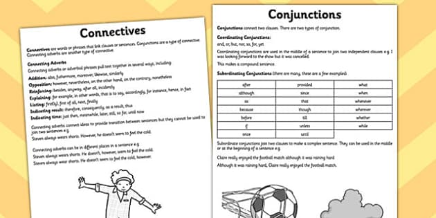 Conjunctions Connectives Guidance - cohesive device, Connectives