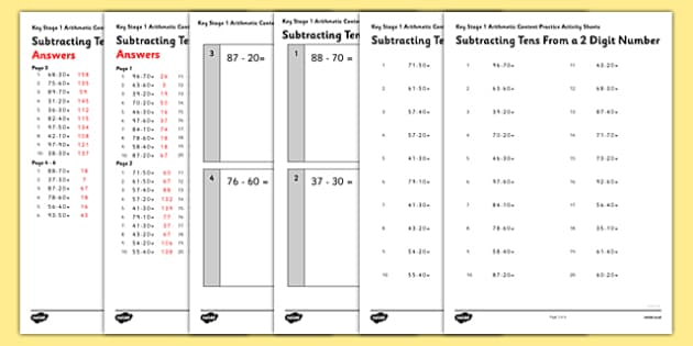 KS1 Arithmetic Content Practice Activity Sheet Pack Subtracting Tens From a Two Digit Number - Maths, KS1, Key Stage 1, Arithmetic, addition, subtraction, two-digit, tens, ones, add, subtract, worksheet