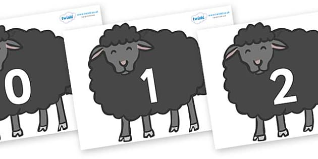 Numbers 0-100 on Baa Baa Black Sheep - 0-100, foundation stage numeracy, Number recognition, Number flashcards, counting, number frieze, Display numbers, number posters