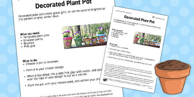 Decorate a Pot Worksheet - decorate, pot, worksheet, garden