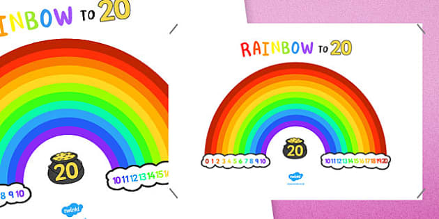 Rainbow To Twenty Display Poster - number, bonds, 20, addition, pairs, add, adding, number bonds