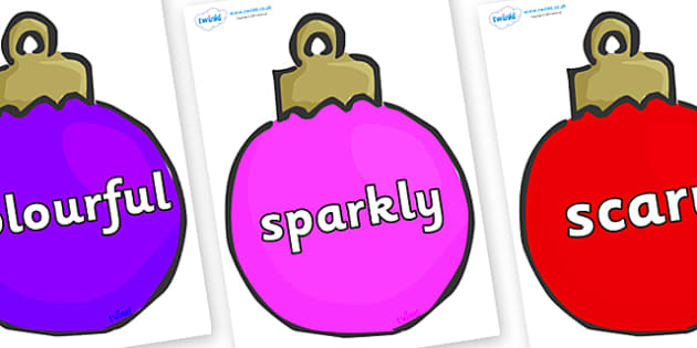 Wow Words on Baubles (Multicolour) - Wow words, adjectives, VCOP, describing, Wow, display, poster, wow display, tasty, scary, ugly, beautiful, colourful sharp, bouncy