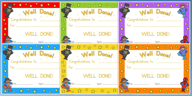 Superhero Certificates - superheroes, certificates, award, reward