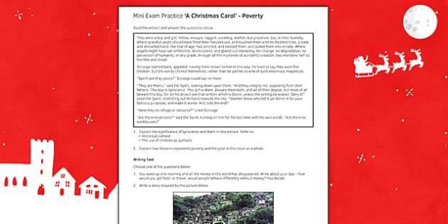 Mini Exam Practice A Christmas Carol: Poverty - mini, exam, practice, a christmas carol