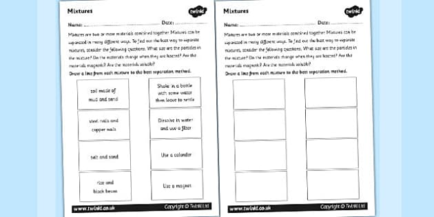Mixtures Worksheet mix mixing investigation science – Separating Mixtures Worksheet