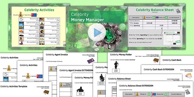 Celebrity Money Manager SEN MLD - maths, KS3, SEN, MLD, money, functional skills, percentages, fractions, calculation, addition, subtraction, project