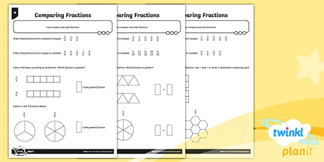 PlanIt Y3 Fractions Compare and Order Fractions Home Learning - Fractions, homework, greater than, less than, ordering fractions, comparing fractions, order, compare, smallest, biggest, greater