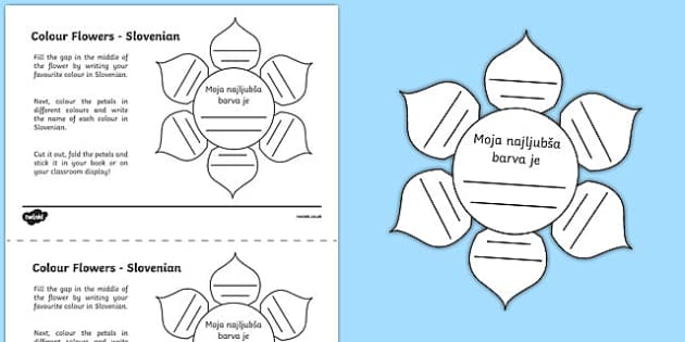 MFL Slovenian Colour Flowers Activity Sheet, worksheet