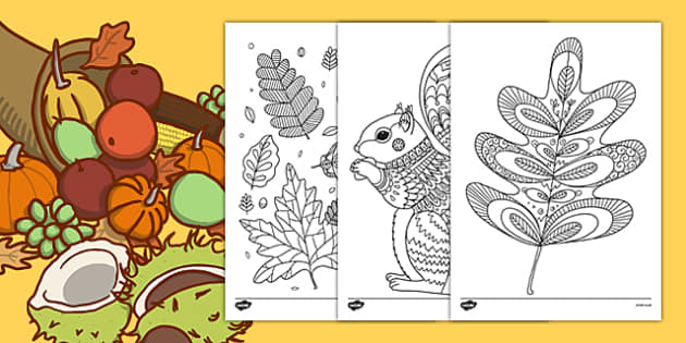 Autumn Themed Mindfulness Colouring Sheets - autumn, mindfulness, colouring