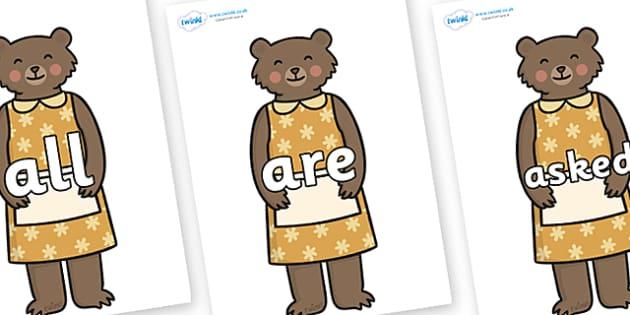 Tricky Words on Mummy Bear - Tricky words, DfES Letters and Sounds, Letters and sounds, display, words