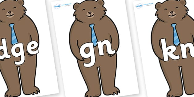 Silent Letters on Daddy Bear - Silent Letters, silent letter, letter blend, consonant, consonants, digraph, trigraph, A-Z letters, literacy, alphabet, letters, alternative sounds