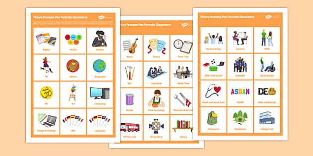 Picture Prompt Sheet for Pen Portraits Secondary - picture promopt, pen, portraits, secondary