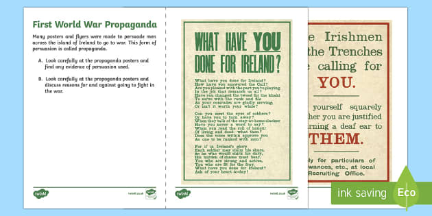 First World War Propaganda Northern Ireland Writing Stimulus Picture