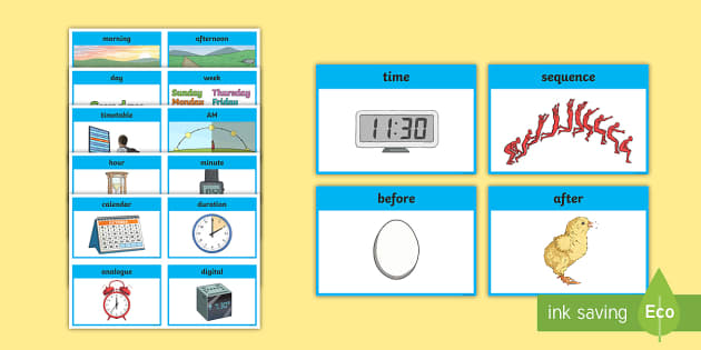 CfE First Level Numeracy and Mathematics Time Keyword Flashcards - language of maths, vocabulary, word wall, prompts, order, duration, sequence, events