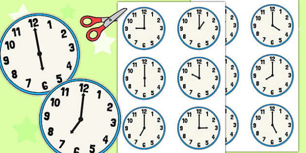 Correct Order Cut Out Clock Faces - correct, order, clock, faces